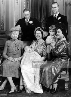 From left: Queen Mary, King George VI, Princess Elizabeth (later Queen Elizabeth II) holding Princess Anne, Duke of Edinburgh (Prince Philip) and Queen Elizabeth ('Queen Mum') holding Prince Charles Die Queen, Hm The Queen, Her Majesty The Queen, Queen Mary, Queen Mother, Princess Elizabeth, Queen Elizabeth Ii, Princess Mary, Baby Princess