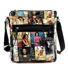 Glossy magazine cover collage large crossbody bag purse Michelle Obama bags 0141fcc49c00a