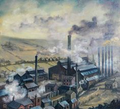 Industrial Buildings with Chimneys and Smoke, Surrounded by Houses and Fields, Robert Penistone Your Paintings, Beautiful Paintings, Landscape Paintings, Landscapes, Industrial Artwork, Happy City, Building Painting, Artwork Images, Industrial Revolution