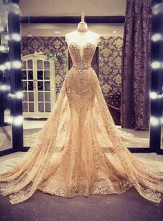 gold evening dresses with removable skirt sparkly beaded sweetheart elegant sexy formal dresses Champagne Evening Dress, Gold Evening Dresses, Gold Prom Dresses, Prom Dresses 2015, Long Prom Gowns, Pageant Gowns, Prom Party Dresses, Evening Gowns, Summer Dresses