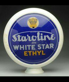 Staroline and White Star Ethyl (Ethyl) gas pump globe gas pump globe Old Gas Pumps, Vintage Gas Pumps, Soda Machines, Neon Clock, Old Gas Stations, Porcelain Signs, Oil And Gas, Old Pictures, Vintage Signs