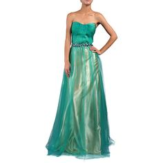 DFI Women's Jewel Waist Evening Gown Jade ($71) ❤ liked on Polyvore featuring plus size women's fashion, plus size clothing, plus size dresses, plus size gowns, green, pleated dress, green sleeveless dress, green polka dot dress, jade green dress and sweetheart dress