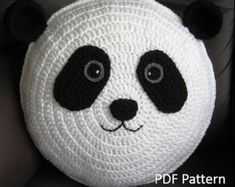 My cute panda crochet cushion / pillow pattern - Anne Alster