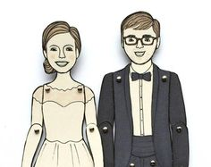 Paper Doll Portraits for Wedding, Engagement, or Anniversary Gifts — Custom Order Fun Family Portraits, Ribba Frame, Illustrations, Paper Dolls, Special Gifts, Sketches, Take That, Poses, In This Moment
