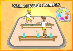 FREE PE STATION idea • Walk across the benches • - balance and step over the objects. We've got 60 of the best, most exciting PE and Sport skill stations for your grades K-3 to explore on, complete with printable station cards and score sheets! https://www.teacherspayteachers.com/Product/PE-Sport-Stations-The-Exploring-Stations-PE-Sport-Skills-Pack-Grades-K-3-2857949