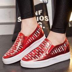 New Fashion Round Roe Shiny Rhinestones Breathable Comfortable Mesh + PU  Leather Thick Flat Platform WoMen Casual Loafers 9b27ab6376bb