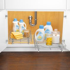 Real Simple® Sliding Under-Cabinet Organizer in Chrome | Cabinet ...