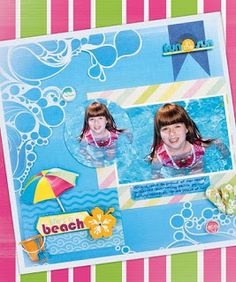 Gorgeous pool scrapbook layout using some of the new papers, stickers and die cuts.
