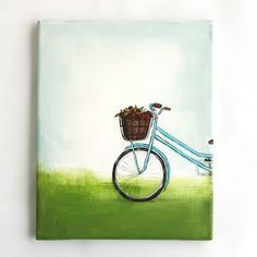 "Original Acrylic Painting Canvas Wall Art Turquoise Bike Flower Basket 8""x10"""