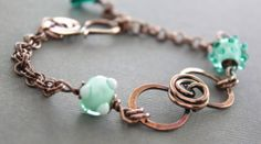 Bow copper bracelet with mint and teal green by IngoDesign on Etsy