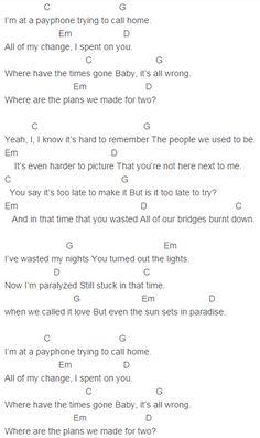 Maroon 5 - Payphone Chords Capo 4