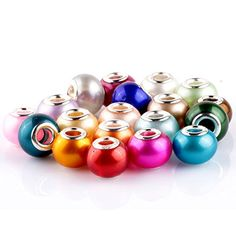 RUBYCA Mix Pearl Imitation Murano Glass Beads European Charm Bracelet Spacer Silver Color 100pcs DIY * Be sure to check out this awesome product.