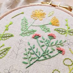 Wildflowery embroidery in progress  #embroidery #handembroidery #flowerembroidery #hoopart #embroideryhoopart #craftsposure #handmade #craft #wildflowers