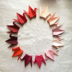 1000 6 Red Tones Tant Paper Origami Cranes by OrigamiLandDeco