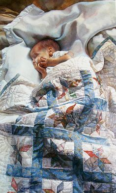On Grandma's cozy bed...the sweetest thing to do with a quilt!   This painting is by the amazing Steve Hanks.