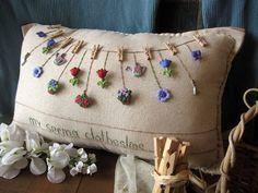 My Spring Clothesline Pillow Cottage Style by PillowCottage Diy Pillows, Handmade Pillows, Decorative Pillows, Throw Pillows, Button Art, Button Crafts, Embroidery Patterns, Hand Embroidery, Garden Embroidery