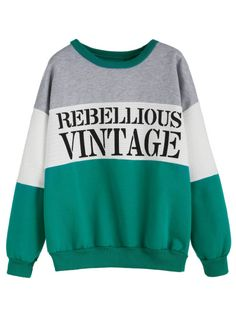 Color Block Letters Print Dropped Shoulder Seam Sweatshirt -SheIn(Sheinside) Mobile Site