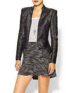 BCBGMAXAZRIA Stripe Vegan Leather Jacket | Piperlime