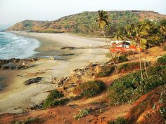 Big Vagator Beach, with the old Portuguese fort of Chapora, near the Chapora River. Goa, INDIA  ~photo by D. Hundhammer