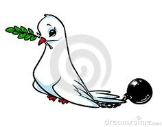 Dove of Peace arrest slavery cartoon illustration   image