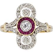 Fantastic .42ct t.w. Rare 1920's Ruby & Old Cut Diamond Ring 18k/Platinum