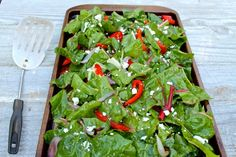 Baked Swiss Chard with Peppers and Feta--an amazingly delicious and satisfying way to eat your greens!  by The Fountain Avenue Kitchen