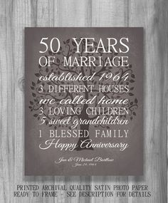 50 Year Anniversary Gift Personalized by PrintsbyChristine on Etsy, $20.00