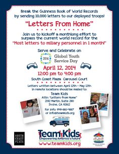 WANTED: YOUR LETTERS TO TROOPS! Help Team Kids, Inc. BREAK the Guinness World Record with 10,001 letters of thanks to deployed troops! http://www.teamkids.org