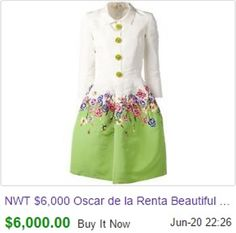 I love this Oscar de la Renta dress that sold on eBay this week for $6000! Usually these highest priced eBay items seem a bit flashy, but this would look great in my closet!  http://www.ebay.com/itm/NWT-6-000-Oscar-de-la-Renta-Beautiful-Embroidered-Flower-Silk-Dress-Size-6-/291495137713