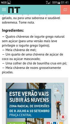Gelado mel e nozes Coconut Sugar, Greek Yogurt, Brown Sugar, Honey, Cakes, Taking Notes, Verses