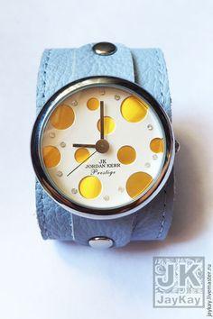 """Купить Часы наручные JK """"желтые"""" в голубом - часы, часы в подарок, часы наручные в подарок"""