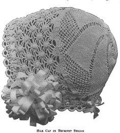 Crochet Baby Bonnet Hat 1915 PDF Vintage crocheted lace pattern