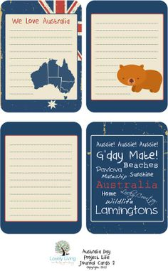 Australia Day 2012 Project Life Journaling Card Printables - Lovely Living - Love The Life You're Living Project Life Free, Project Life Layouts, Project Life Cards, Life Journal, Journal Cards, Pocket Scrapbooking, Scrapbook Cards, Mini Albums, Travel Album