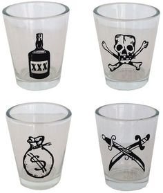 Skull Pirate Life Shot Glass - Set of 4 Each glass in this set offers a bounty of an image—from the Jolly Roger skull & crossbones and a liquor bottle to dueling swords and a bag full of money, this set keeps the pirate spirits flowing.