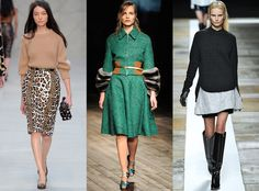 Statement Skirts from Top Fall 2013 Trends From New York, London and Paris Fashion Weeks  We spotted a myriad of flattering skirt choices this season in every shape and size imaginable. Prada featured full A-line silhouette, Burberry Prorsum brought back animal prints in prim pencil skirts and Theyskens' Theory introduced us to double-layered styles.
