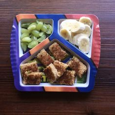 Lunch: grapes, banana slices and a broccoli grilled cheese.