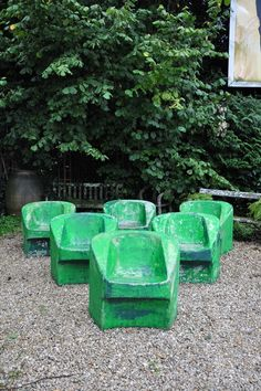 set of 6 fibro cement willy guhl armchairs c.1950 Espace Nord Ouest
