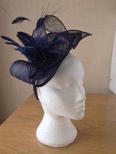 Navy Midnight Blue Sinamay and Feather Fascinator Formal Hat, on a hairband