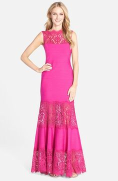 Tadashi Shoji Illusion Lace Pintuck Jersey Gown available at #Nordstrom