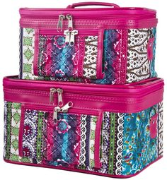 502324904ea3 World Traveler Pink Boho Patchwork Cosmetic Train Case set) -- See this  great image   Makeup bag