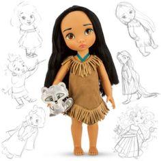 Disney Doll Pocahontas Som Liten Flicka Med Boljande Svart Har