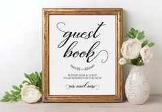 A personal favorite from my Etsy shop https://www.etsy.com/listing/468959425/guest-book-sign-please-sign-our-guest