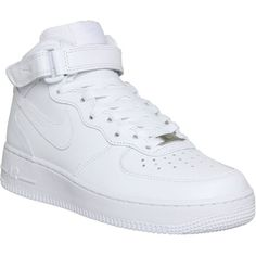 NIKE Air Force 1 mid-top trainers ($97) ❤ liked on Polyvore featuring shoes, sneakers, nike, trainers, white white, lace up sneakers, white velcro sneakers, fleece-lined shoes, lace up shoes and white velcro shoes