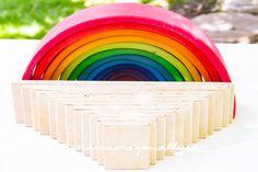 Super Simple DIY Semicircles and Planks for Extra Rainbow Fun - MamaMeganAllysa Rainbow Rice, Wooden Rainbow, Simple Diy, Super Simple, Easy Diy, Grimms Rainbow, Wooden Building Blocks, Small World Play, Bent Wood