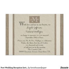 Wording for post wedding reception invitations reception post wedding reception invitation parchment look stopboris