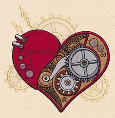 Steampunk heart from Urban Threads… Steampunk Machines, Steampunk Kunst, Steampunk Heart, Urban Threads, Desenho Tattoo, Machine Embroidery Patterns, Copics, Quilting Projects, Coloring Books