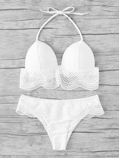Conjunto de bikini halter con ribete de volantes -Spanish SheIn(Sheinside)