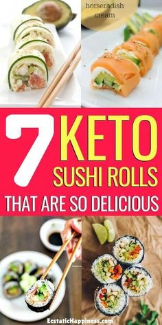 Keto Sushi Rolls! You'll love these low carb sushi recipes with cauliflower rice, cucumber, shrimp, salmon avocado, tuna... you name it! #keto #ketodiet #ketorecipes #ketogenic #ketogenicdiet