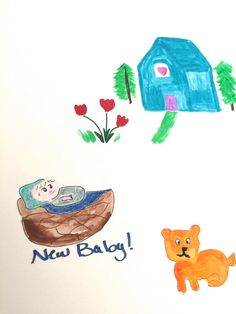 New Baby on the Way? Blue House, orange Cat and Red tulips make a cute background for baby in basket with blue letters. Enjoy and ask questions. Card is 4x5 Archival ink/bright white linen paper. Allow 2 weeks to print /ship from time of purchase. Copyright Lily Bhattacharya PsyD 2015  Teams: Craftnoodleteam, TNT, Promote sell succeed, wedding wonders, etsy promo forum, crazy advertisers, SEO Games,