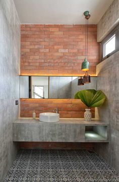 Adding Concrete to the Bathroom in Style: Modern Minimalism Unleashed! Bathroom Adding Concrete to the Bathroom in Style: Modern Minimalism Unleashed! Industrial Bathroom Design, Industrial Interiors, Modern Bathroom Design, Bathroom Interior Design, Home Interior, Interior Decorating, Bathroom Designs, Bathroom Ideas, Industrial Bedroom